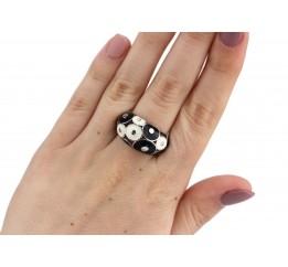 Кольцо серебряное с эмалью Круги (1435р)