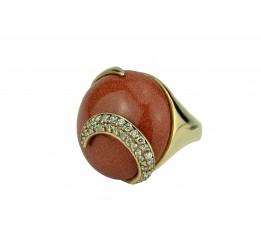 Кольцо серебряное с позолотой и авантюрином (55 2982В)