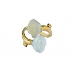 Кольцо серебряное с позолотой и агатом Розочки (55 5192)