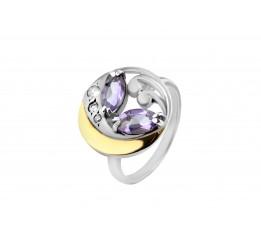 Кольцо серебряное с золотом Аметист (403/ам к)