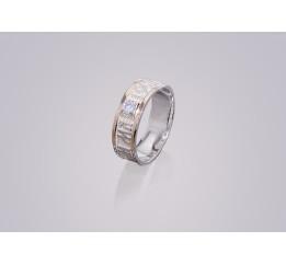 Кольцо серебряное с золотом Спаси и сохрани  (200-к/1 бб)