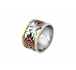 Кольцо серебряное с золотом и эмалью Водевиль (677к)