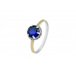 Кольцо серебряное с золотом и цирконием Мелани (648к)
