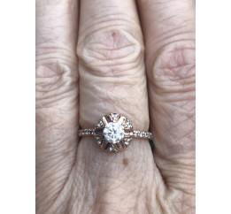 Кольцо серебряное с позолотой и цирконием (1112060201)