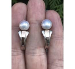 Серьги серебряные с золотом и жемчугом (328с)