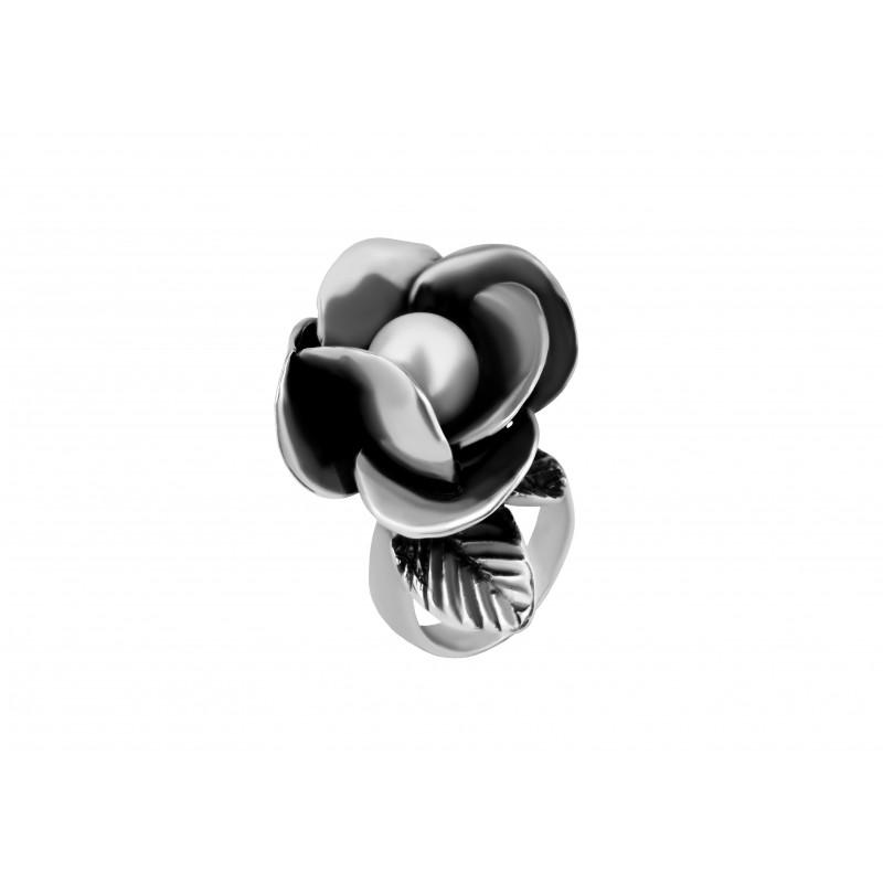 Кольцо серебряное с жемчугом Роза жемчужная (1966)