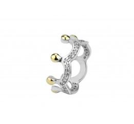 Кольцо серебряное с золотом и цирконием Корона (823/1)