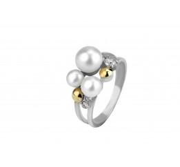 Кольцо серебряное с золотом и жемчугом Радушие (139к)