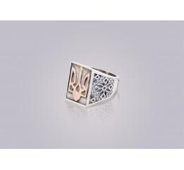 Печатка серебряная с золотом Трезуб (0276.10)