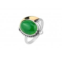 Кольцо серебряное с золотом и жадеитом (294 жад_к)