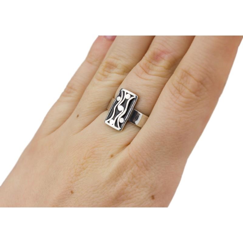 Кольцо серебряное с эмалью Дождик (2100189э)