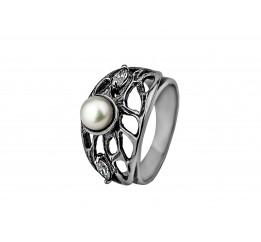 Кольцо серебряное с жемчугом и цирконием Мацеста (2170016)