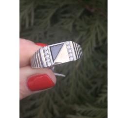 Печатка серебряная с золотом (653з)