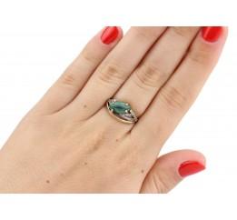 Кольцо серебряное с золотом и малахитом (689км)