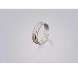 Кольцо серебряное с золотом и цирконием Обручальное Элида 2 (668к)