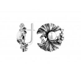Серьги серебряные с жемчугом (с516)