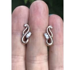 Серьги серебряные с позолотой и цирконием (1120722201)
