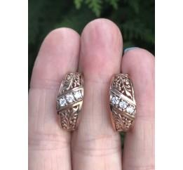Серьги серебряные с позолотой и цирконием (1120689201)