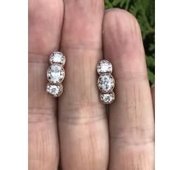 Серьги серебряные с позолотой и цирконием (1122011201)
