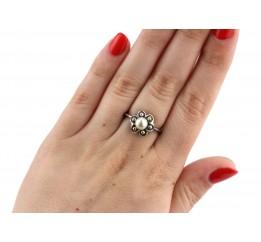 Кольцо серебряное с жемчугом (061002)