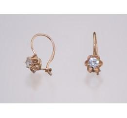 Серьги серебряные с позолотой и цирконием (1120081201)