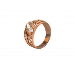 Кольцо серебряное с позолотой и цирконием (1110443201)
