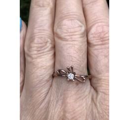 Кольцо серебряное с позолотой и цирконием (011395)