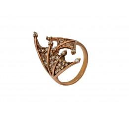 Кольцо серебряное с позолотой и цирконием (01114311)