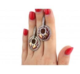 Серьги серебряные с золотом и эмалью (466с)