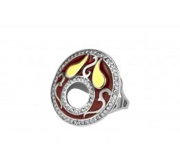 Кольцо серебряное с золотом и эмалью (466к)