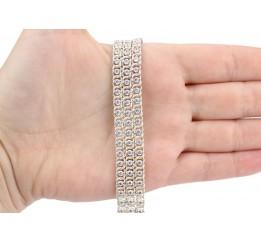 Браслет серебряный с цирконием Арабка тройной (17003лбб)