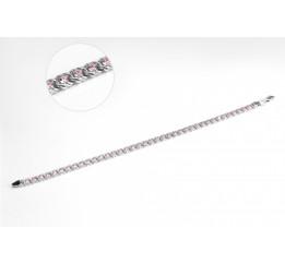 Браслет серебряный с цирконием Арабка розовый (1708лбр)