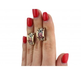 Серьги серебряные с золотом и эмалью Водевиль (677с)