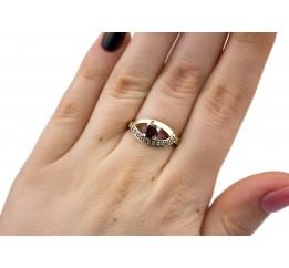 Кольцо серебряное с золотом и гранатом (641кг)