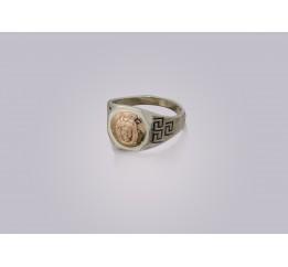 Печатка серебряная с золотом Адмирал (420)