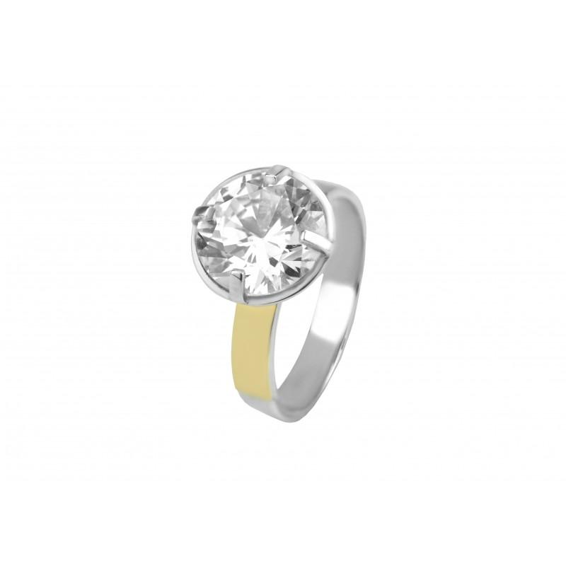 Кольцо серебряное с золотом Мирабель (566к)