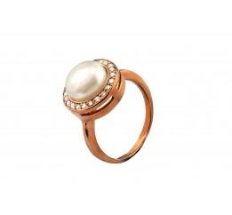Кольцо серебряное с жемчугом и позолотой (1610043211)
