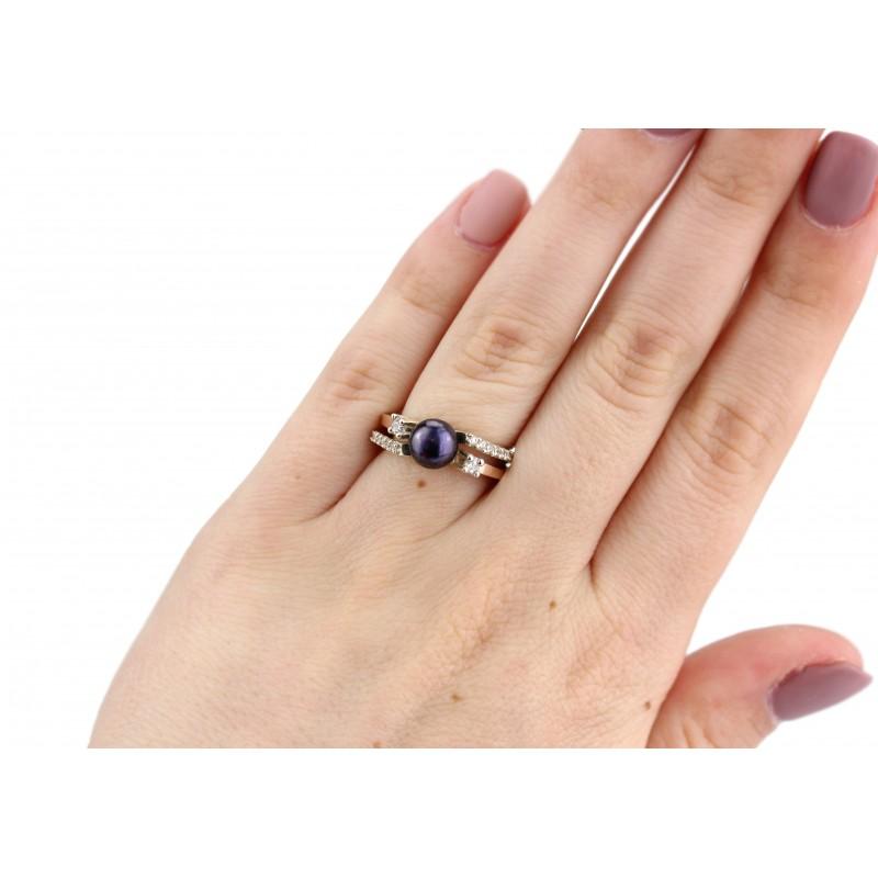 Кольцо серебряное с золотой пластиной и жемчугом (0337.10кч)