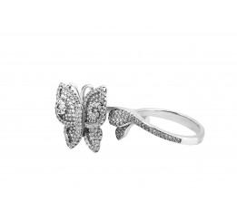 Кольцо серебряное с цирконием Бабочка (126ш)