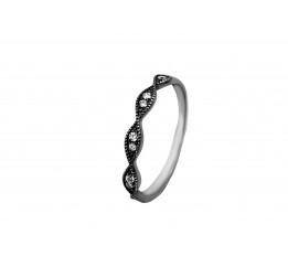 Кольцо серебряное с цирконием Верёвочка (103)