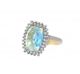 Кольцо серебряное с золотом и мультифианитом (м206к)