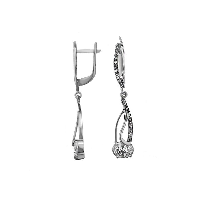 Серьги серебряные с цирконием Вайнона (1112429)