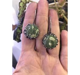 Серьги серебряные с риолитом Эксклюзив (2337)