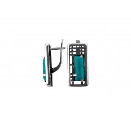 Серьги серебряные эксклюзивные с бирюзой (2383б)