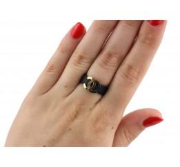 Кольцо серебряное с золотом и каучуком (343к)