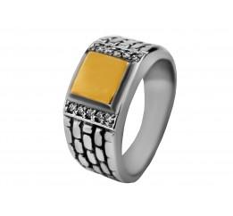 Печатка серебряная с золотом (4971з)