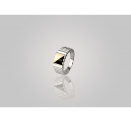 Печатка серебряная с золотом (655з)