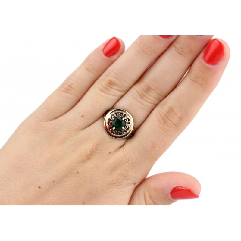 Кольцо серебряное с золотом и цирконием Планета (469кз)