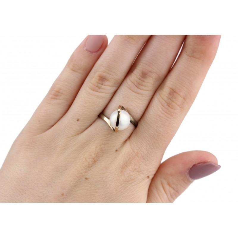 Кольцо серебряное с золотом и жемчугом Леди (261кж)