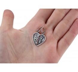 Подвес серебряный Сердечко для двоих (3194)